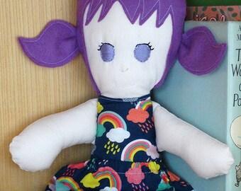 Modern Rag Doll, Handmade Doll, Fabric Cloth Doll, Dress Up Doll, Girl Doll, Purple Hair, Rainbows, Soft Toy, Cloth Doll, Beth Doll, CE Mark