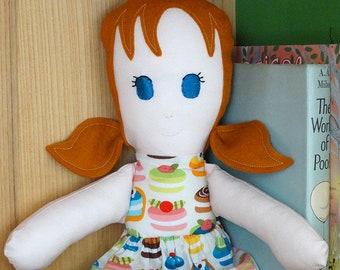 Modern Rag Doll, Handmade Doll, Fabric Cloth Doll, Dress Up Doll, Girl Doll, Ginger Hair, Cakes, Soft Toy, Cloth Doll, Beth Doll, CE Mark