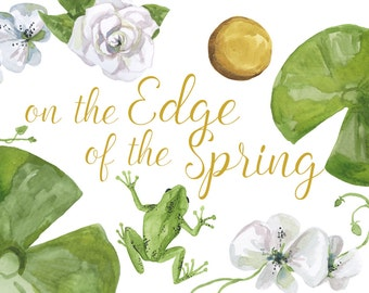On the Edge of the Spring, frog prince clipart, princess clip art, fairy tale collection, frog clipart, lilypad flower clipart, orchid paint