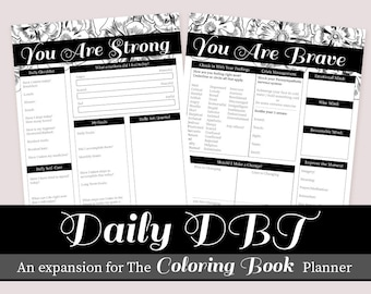Daily DBT Planner add on Expansion, Therapy and Self care worksheets for people with BPD
