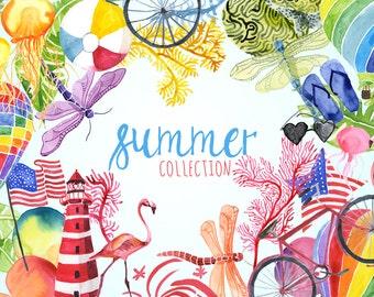 Watercolor Summer Collection, Summer Clip art, Summer graphics, seasonal images, Summer florals, Watercolor clip art, summer clipart, garden