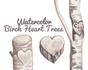 Custom Watercolor Birch Heart Trees Carving Clipart Wedding Invites Romantic Clip Art Rustic Weddings