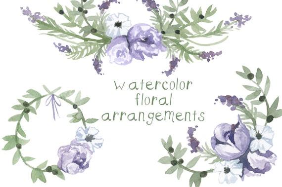watercolor purple flower clipart flowers clip art digital etsy rh etsy com purple flower clipart no background purple flower clipart png