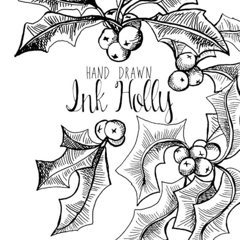 Ink Drawing Holly Branch Clip Art For Scrapbooking Holiday