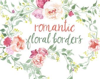 Watercolor Valentine's Day Flower Clipart Romantic flowers clip art Romance Love Floral Illustration Pink Peonies Floral wreaths