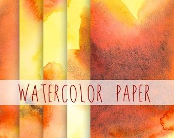 Digital Watercolor Paper, Scrapbooking digital papers, red and yellow watercolor paper, lava paper, fire paper, hot watercolor digital art