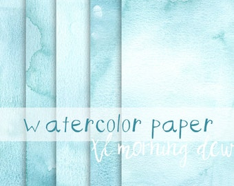 Teal Morning Dew Digital Watercolor Paper, Extra Large Digital backgrounds, Digital Scrapbook, 12x12, 12x24 light blue watercolor paper