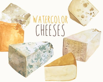Watercolor Cheese Clipart, Culinary Clip art, Cookbook Illustrations, Food Clipart, Cheddar  Swiss Parmesan Cheese Art, Commercial Use