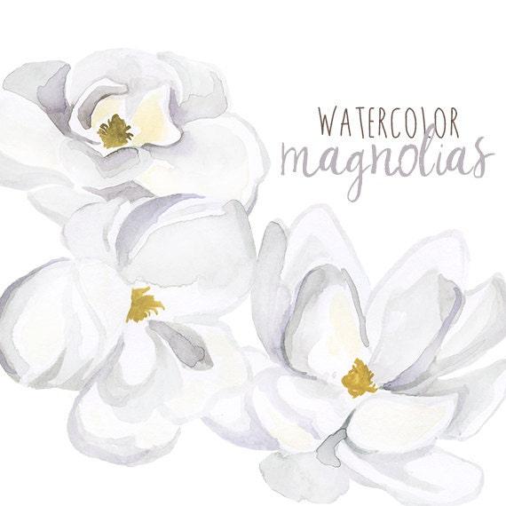Watercolor magnolias floral clipart floral magnolia clip etsy image 0 mightylinksfo