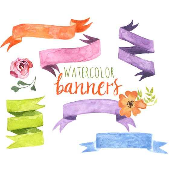 Watercolor Ribbon Banners, Banner clipart, Ribbon Banner, Digital Frames,  Digital Watercolor Ribbon Banners, Watercolor clipart, Digital