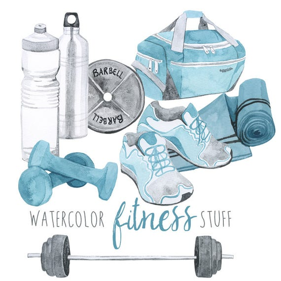 Watercolor Fitness Stuff Gym Equipment Clipart Gym Bag Etsy