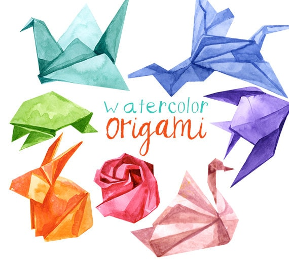 Watercolor Origami Animals Origami Japanese Clipart Origami Etsy - Origamis-animales