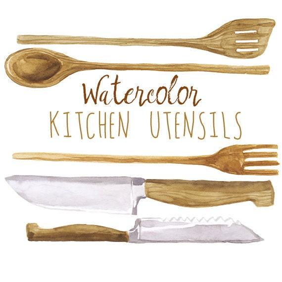 Watercolor Kitchen Utensils Clip Art Wooden Cookware Wood