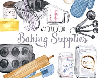 Watercolor Baking Supplies, culinary clipart, baking clip art, baking illustration, foodie clipart, baker clipart, Digital scrapbooking