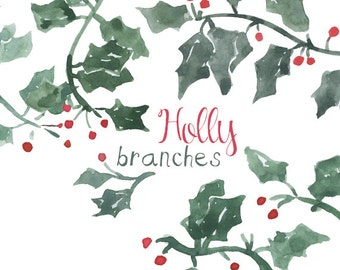 Watercolor Holly Branch Clip Art for Scrapbooking Holiday Season Instant Download Christmas Holiday Clipart Festive