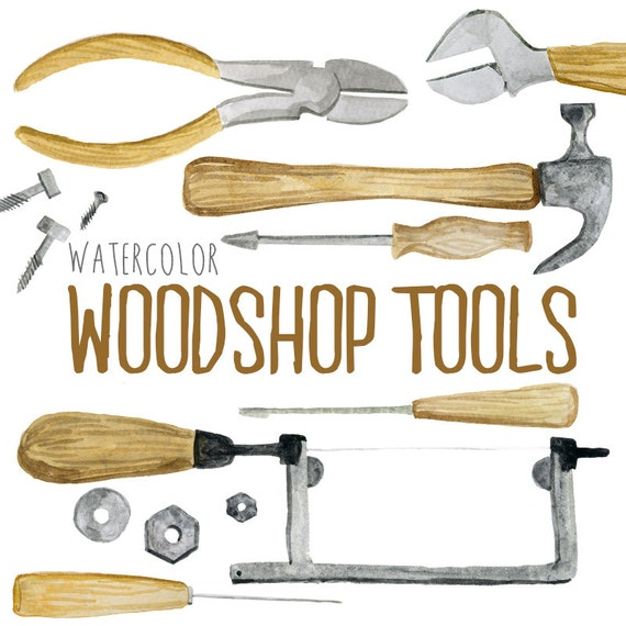 Watercolor Woodshop Tools Shop Tools Woodworking Clipart Etsy