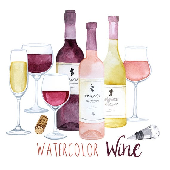 Watercolor Wine Clip Art Set Pretty Alcohol Clipart Etsy