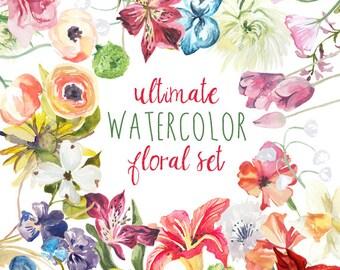 Ultimate Floral Watercolor Clip Art Set