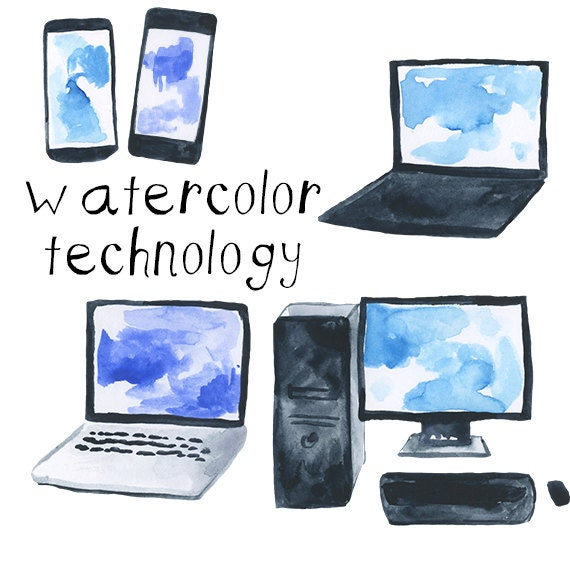 watercolor computers and technology cell phone clip art pack etsy