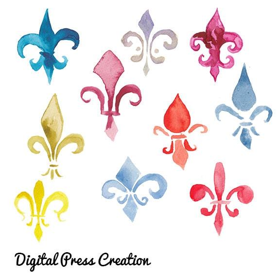 Watercolor Fleur De Lis Clip Art Fleurs Colorful Clipart Etsy