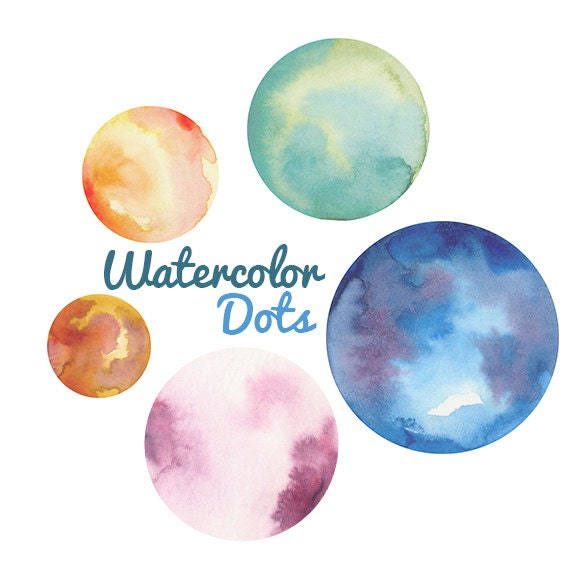 Watercolor Polka Dots Png Files Transparent Backgrounds High Resolution Planets Circles Textured Water Colors Graphic Digital Scrapbooking