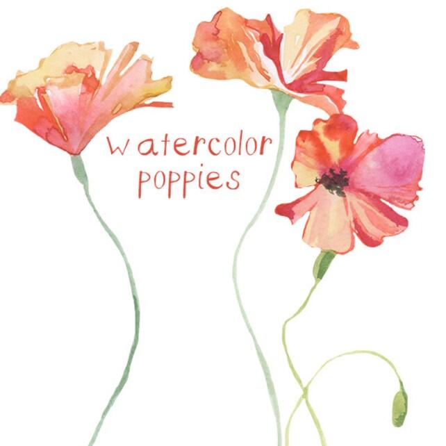 Watercolor poppy flower clipart flowers clip art digital etsy image 0 mightylinksfo