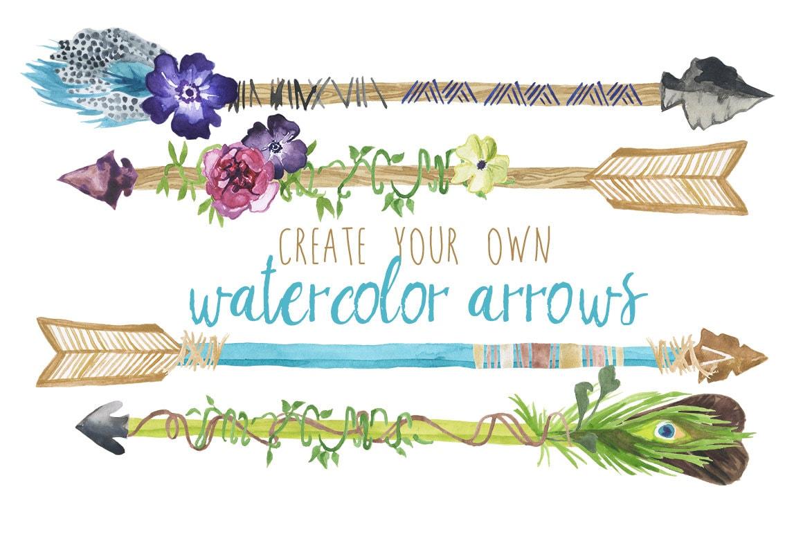 Create Your Own Watercolor Arrows Clip Art Watercolor ...