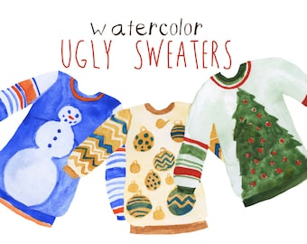 Watercolor Ugly Sweater Clip art Clipart Hipster Sweater Clipart Trendy Clip Art Commercial Use Digital Download Christmas Sweater Clip Art