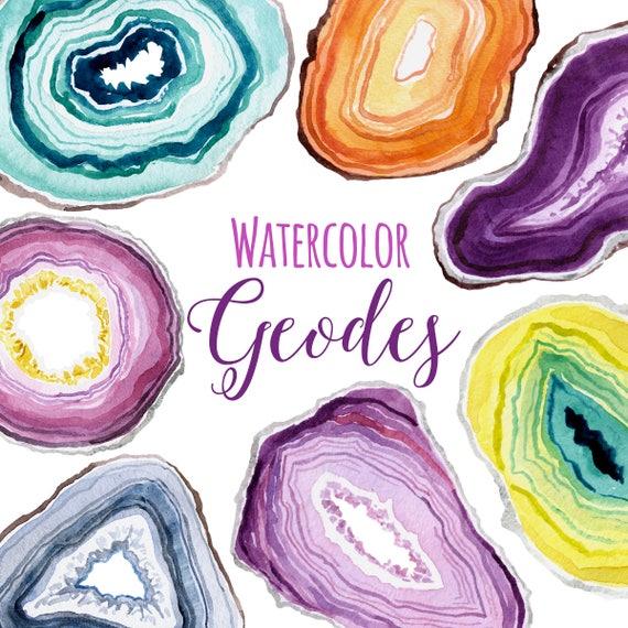 watercolor geodes geode clip art gemstone slices clipart etsy