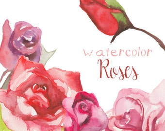 Floral Clipart Wedding Floral Clip Art Hand Drawn Watercolor Flowers Clipart Flower Floral Clip Art Instant Download Scrapbooking Roses Rose