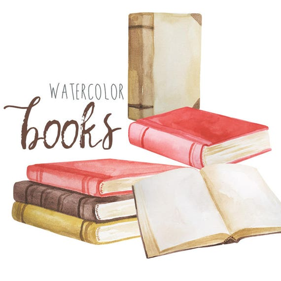 Watercolor book clip art vintage book clipart novel