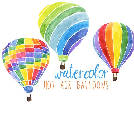 Aquarell Heissluftballone Party Festlich Clipart Hot Air Etsy