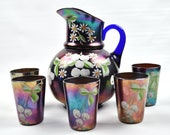 Northwood Cobalt Blue Pitcher and Glasses Carnival Glass Tumbler Iridescent Fenton Set