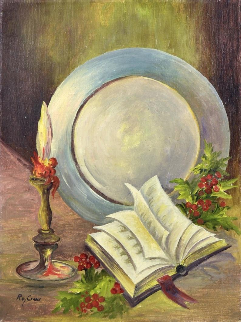 Original Still Life Oil Painting  Roy Crane  Amateur Art image 0