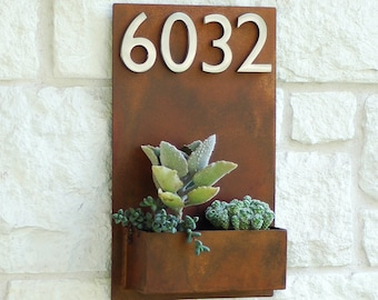 East Side Planter w/ Silver Address Numbers, Address Sign, House Numbers (Free Shipping)