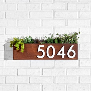 Clarkesville Planter w/ Silver, White, Black or Brass Address Numbers, House Numbers, Address Plaque, Address Sign  (Free Shipping)