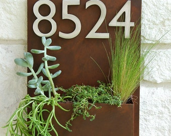 Mid-Century Madness Planter w/ Silver Address Numbers, House Numbers, Address Sign (Free Shipping)