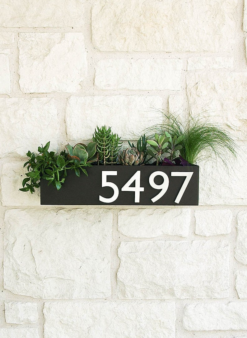 Clarkesville Planter w/ Silver Address Numbers House Numbers image 0