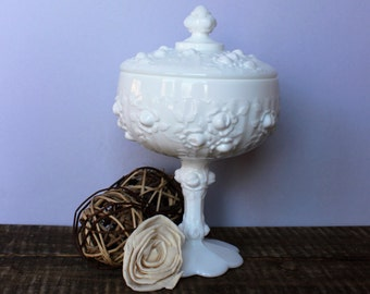 Fenton Rose Milk Glass Covered Compote