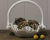 Fenton Hobnail Milk Glass Ruffled Edge Basket