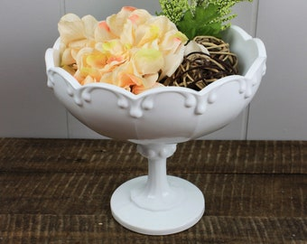 Large Milk Glass Teardrop Footed Compote