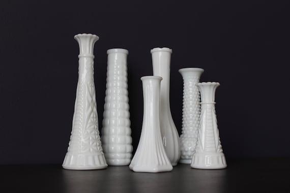 Set Of 6 Vintage Milk Glass Vase Lot Milk Glass Wedding Etsy