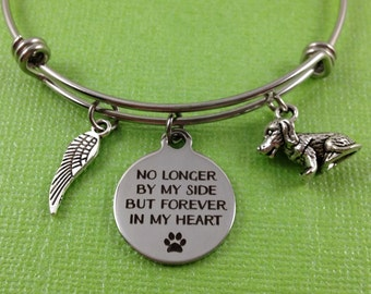 Dog Memorial Bracelet, Dog Remembrance Bracelet, Dog Memorial Bangle, Dog Charm Bracelet, No Longer By My Side But Forever In My Heart