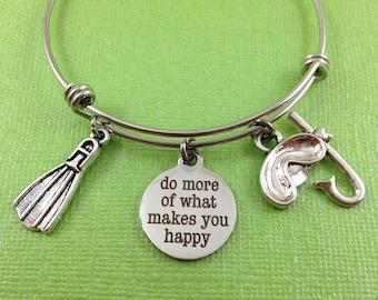 Scuba Diving Bracelet, Do More of What Makes You Happy, Scuba Diver Gift, Snorkeling Bracelet