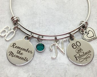 60 And Fabulous Birthday Bangle Personalized 60th Gift For Mom Sister Best Friend Grandma