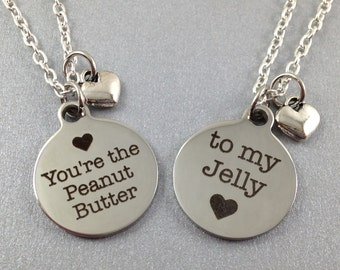 Best Friend Necklace Set, Peanut Butter and Jelly, BFF Jewelry, BFF Necklace, Gift for Best Friend, Best Friend Jewelry