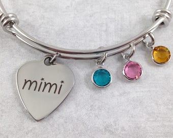 Mimi Charm Bracelet, Mom Bracelet, Grandma Bracelet, Personalized Mimi Bracelet, Birthstone Bracelet, Mothers Day Gift, Gift for Mimi