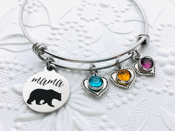 Bonus Mom Jewelry New Mom Gift Mother/'s Day Gift Silver Mama Bear Bracelet Stepmother Gift Gift for Mum Cub Bracelet Jewelry for Mom