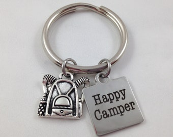 Happy Camper Keychain, Camp Keychain, Backpack Keychain, Backpack Charm, Camping Keychain