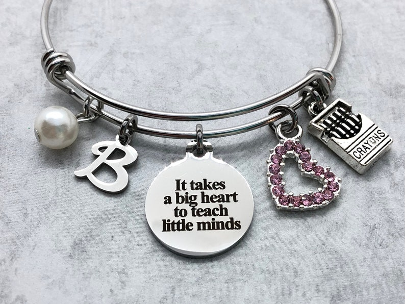 9820044c9e Personalized Teacher Charm Bracelet It Takes a Big Heart to | Etsy